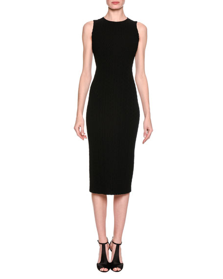 Chevron Quilted Sheath Dress, Black