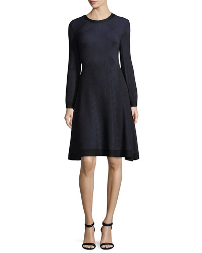 Knit Long-Sleeve Round-Neck Dress
