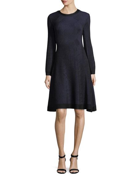 Knit Long-Sleeve Round-Neck Dress