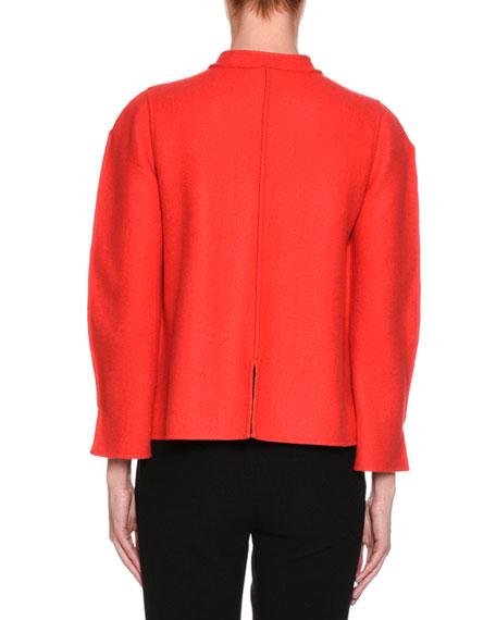 Cashmere Zip-Front Short Easy Jacket, Pink