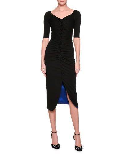 Scoop-Neck Ruched Midi Dress, Black/Blue