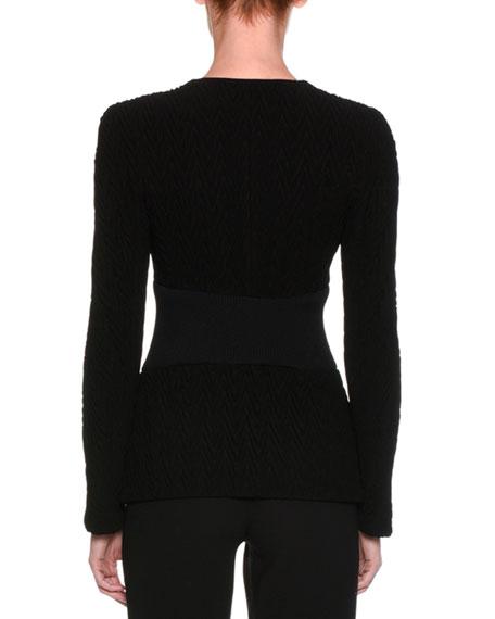 Chevron Knit Zip-Front Jacket, Black