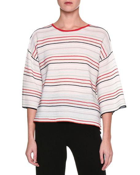 Striped Half-Sleeve Top, Multi