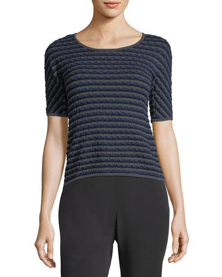 Wave-Knit Half-Sleeve Top