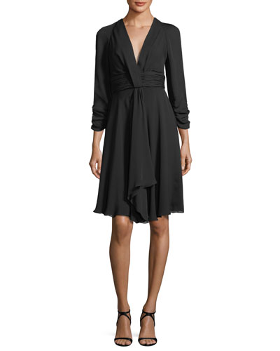 Ruched 3/4-Sleeve V-Neck Dress