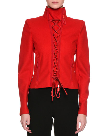 Lace-Up Wool Cloth Jacket, Red