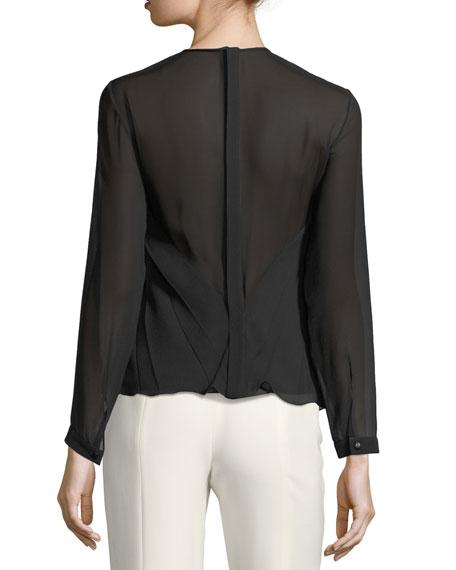 Pleated Georgette Long-Sleeve Top