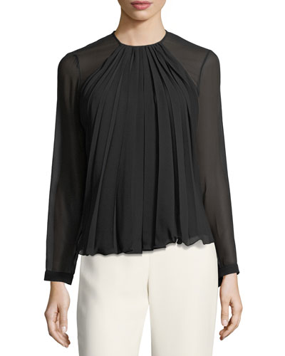 Pleated Georgette Long-Sleeve Top