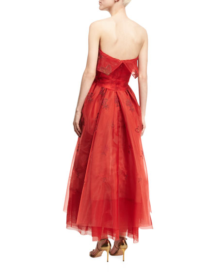 Strapless Floral Popover Midi Gown, Red Medley
