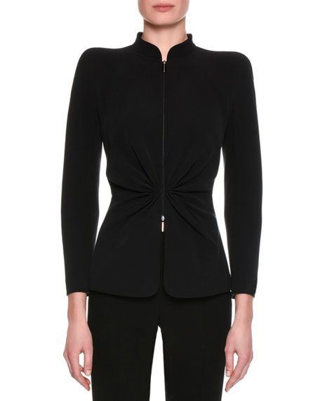 Washed Silk Cady Jacket, Black