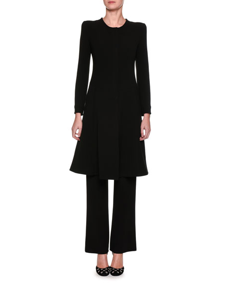 Snap-Front Bracelet-Sleeve Coat, Black