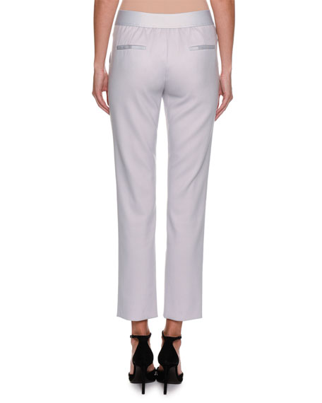 Classic Cropped Wool-Crepe Pants, Light Gray