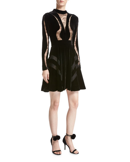 Elie Saab Long-Sleeve Lace-Inset Velvet Cocktail Dress, Black