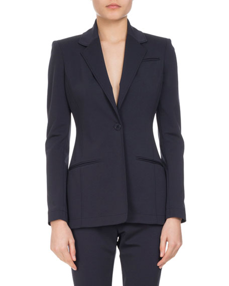 Acacia One-Button Jacket, Navy