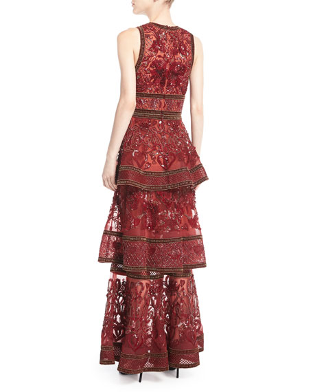 Embroidered Sleeveless Tiered Gown