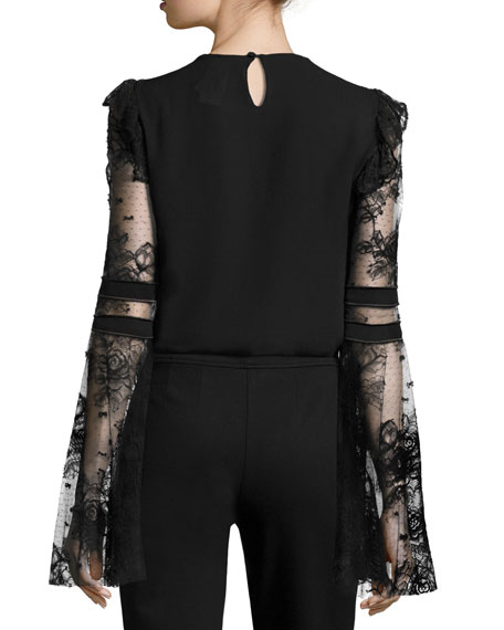 Lace & Crepe Bell-Sleeve Top with Velvet Hearts, Black