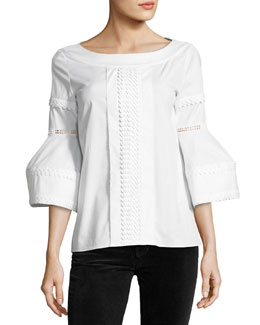 Flounce-Sleeve Embroidered Poplin Blouse, White