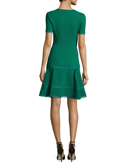 Short-Sleeve Lace-Trim Dress, Green