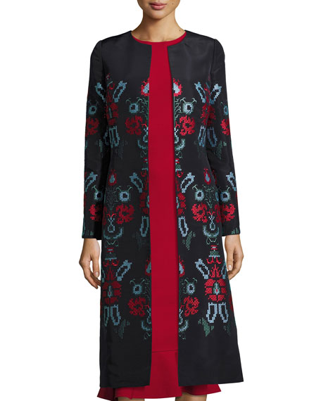 Cross-Stitch Embroidered Silk Coat