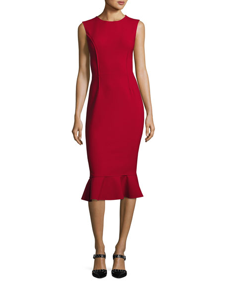 Sleeveless Flounce-Hem Sheath Dress, Dark Red