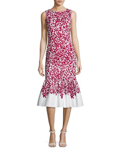 Graphic Leaves Sleeveless Mermaid Midi Dress, Red/White