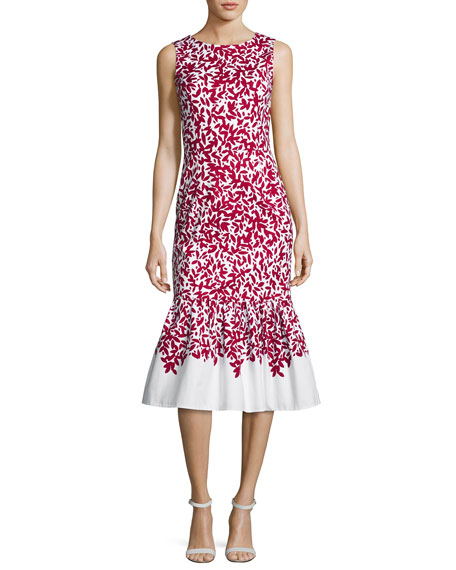 Graphic Leaves Sleeveless Mermaid Midi Dress, Red/White