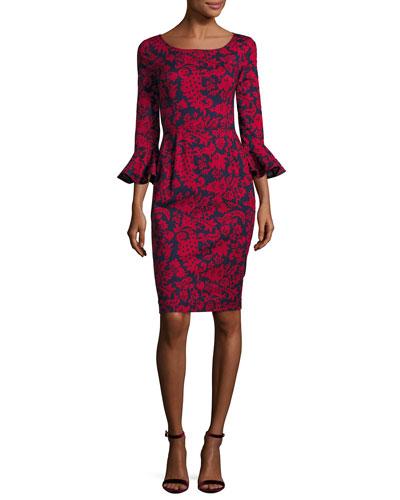 Graphic Folk Flounce-Sleeve Dress, Blue/Red