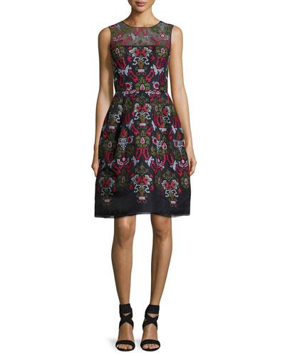 Cross-Stitch Full-Skirt Cocktail Dress