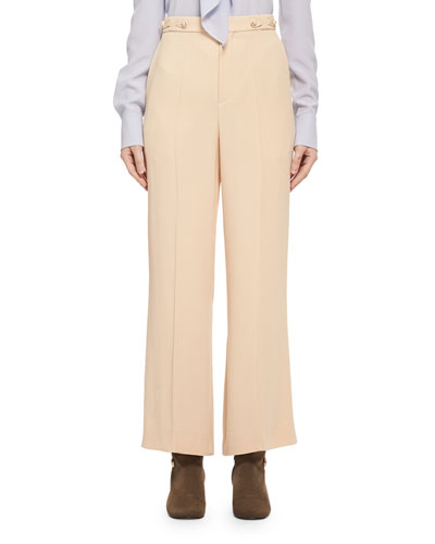 Cropped Cady Crepe Pants, Light Beige