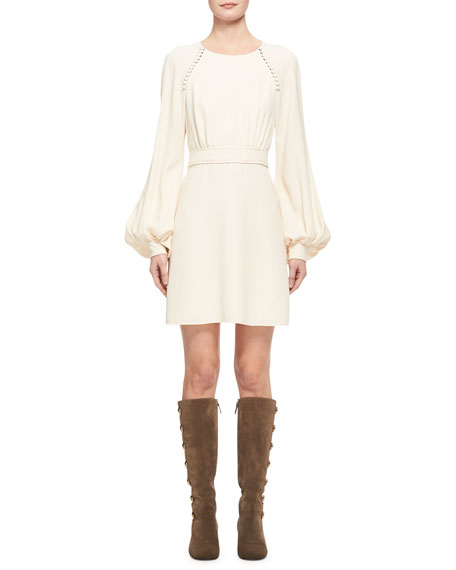 Chloe Button-Trim Cady Mini Dress