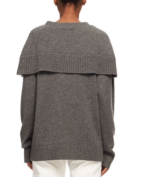 Crewneck Cashmere Capelet Sweater, Charcoal Black