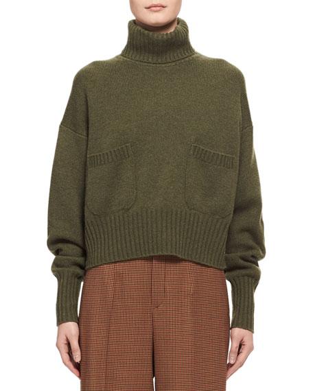 Cashmere Patch-Pocket Turtleneck Sweater