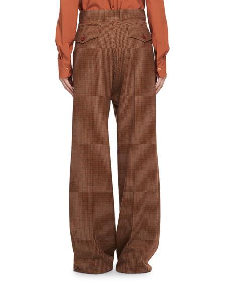 Menswear-Inspired Wool-Check Pants, Multi Pattern