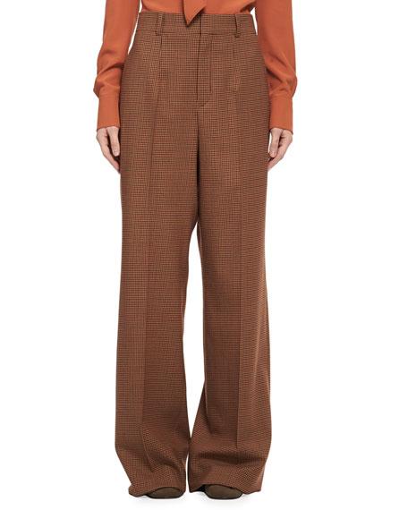 Chloe Menswear-Inspired Wool-Check Pants, Multi Pattern