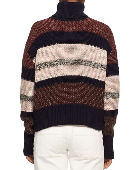 Knit Tweed Turtleneck Sweater, Red Pattern