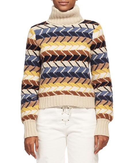 Herringbone Knit Turtleneck Sweater, Blue Pattern