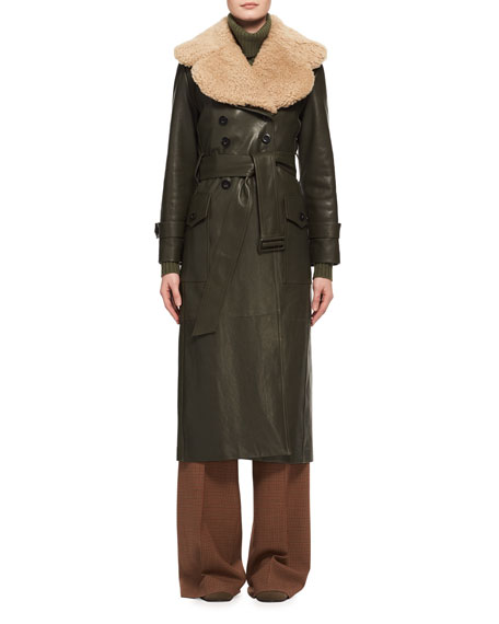 Shearling Fur-Lined Leather Trenchcoat, Green