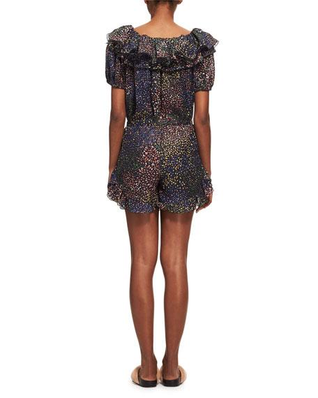 Ruffled Short-Sleeve Dress, Blue Pattern