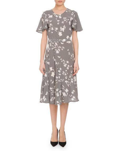 Dorothea Floral Stripe Flutter-Sleeve Dress, Multi