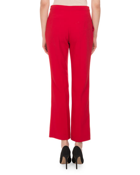 Nettle Cropped Flare-Leg Pants, Orange
