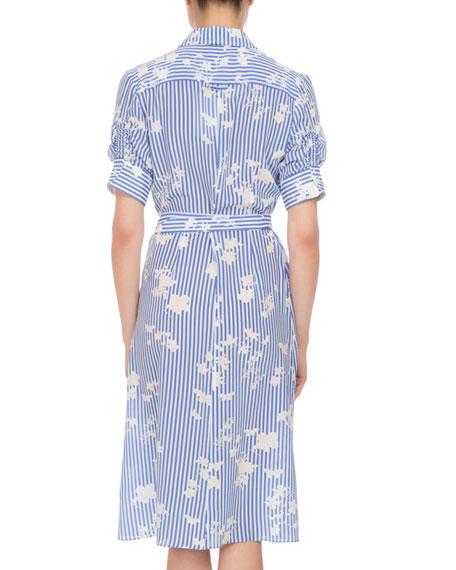Keiran Floral Striped Silk Shirtdress, Multi
