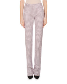 Jane Striped Straight-Leg Pants, Multi