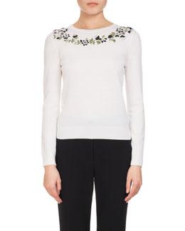 Hermione Embroidered Merino Wool Sweater, White