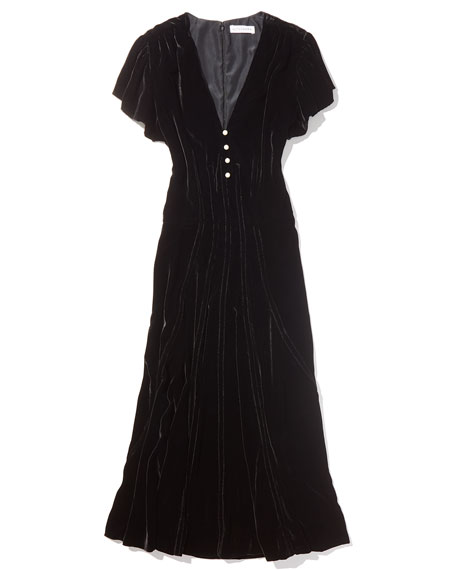 Camilla Cap-Sleeve Velvet Midi Dress
