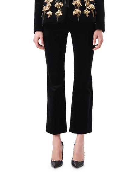 Altuzarra Serge Velvet Flat-Front Classic Pants
