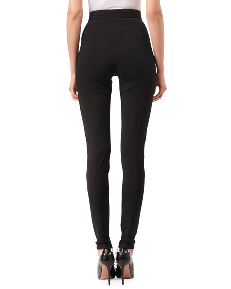 Bennett High-Waist Leggings with Lace-Up Hem, Black