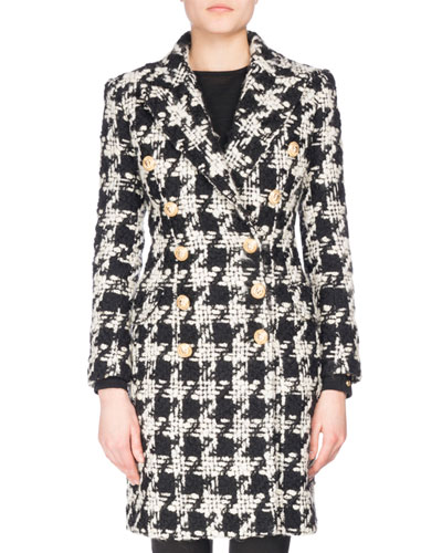Double-Breasted Houndstooth Midi Coat, Black/White