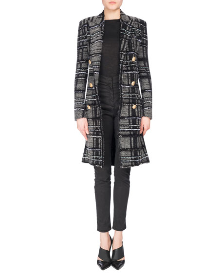 Double-Breasted Plaid Tweed Midi Coat, Black/Gray