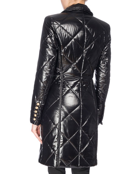 Shiny Double-Breasted Puffer Coat, Black