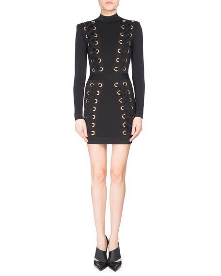 Lace-Up Mock-Neck Mini Dress, Black